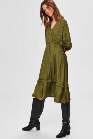groene midi jurk met licht gestreept dessin callie-damina 16075756