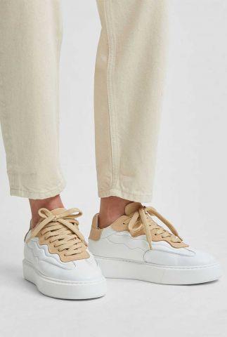witte leren sneakers met suède detail amalie trainer 16078836