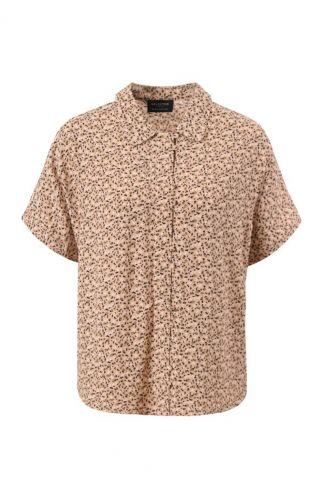 licht bruine blouse met korte mouw riyanka shirt 16075666