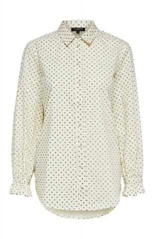 lichtgele blouse met stippen print nova long shirt 16072224