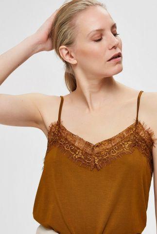 bruine mouwloze top met kanten v-hals ella singlet bronze brown 16068445