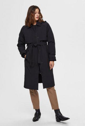 zwarte trenchcoat van gerecycled polyester helen 16073950