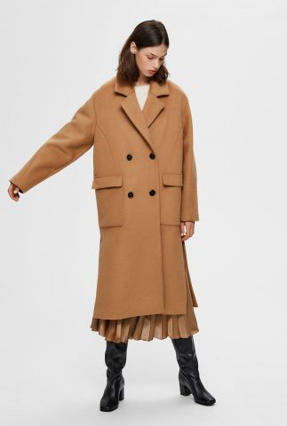 camel kleurige lange jas element wool coat 16073955