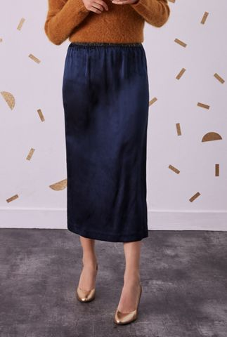 donker blauwe zijde midi rok met lurex taille band selena