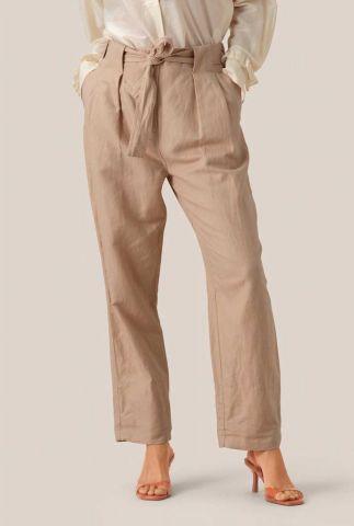 beige paperbag broek van een linnenmix selene mw trousers