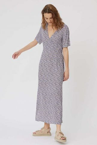 viscose maxi jurk met bloemen dessin en split details semira