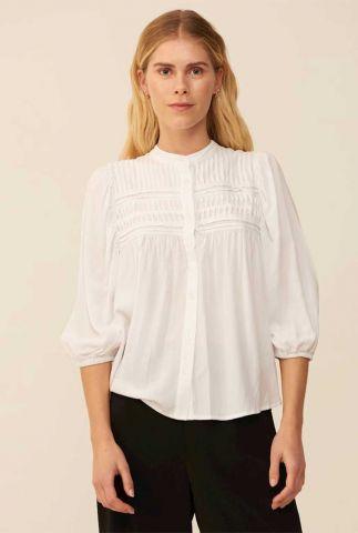 witte blouse met details op de borst en 3/4 mouwen sena