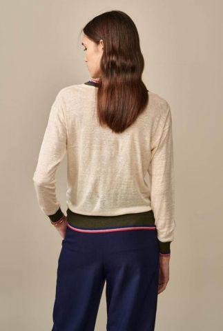 ecru-kleurige linnen top met lange mouwen senia11 t1302