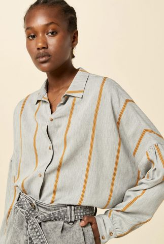 grijze oversized blouse met pofmouwen en strepen dessin botan