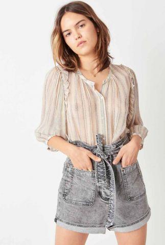 ecru blouse met all-over dessin en ruches pearl song