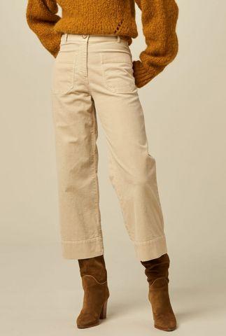 high waist beige rib broek met 7/8 lengte hudson street