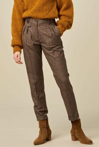 zachte donker grijze broek met ruiten dessin manswool