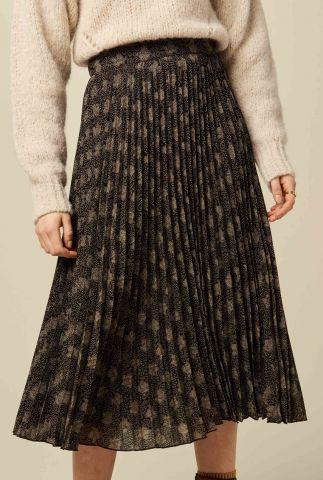 zwarte midi rok met plissé plooien en sierlijke print nu coleen