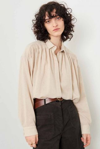 zandkleurige loose fit blouse met plooi details licamont