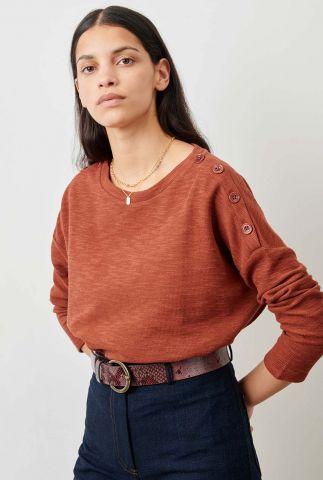 roestkleurige top met rond hals en knoop details austin