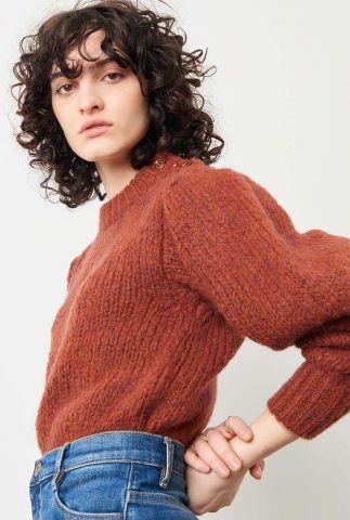 roestkleurige trui met ballon mouwen en knoopsluiting nutty