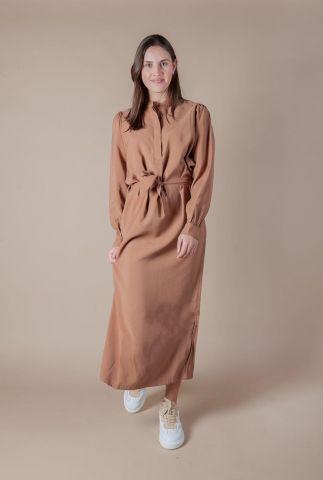 bruine soepel vallende jurk met ceintuur shiki dress l/s