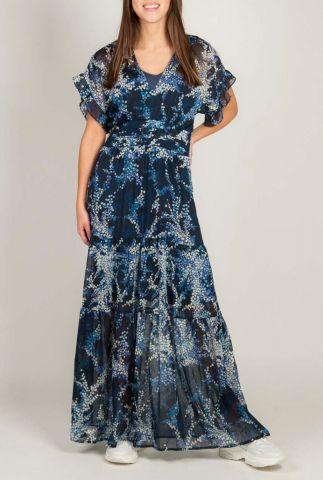blauwe maxi jurk met lurex glitter en lichte print shirley dress