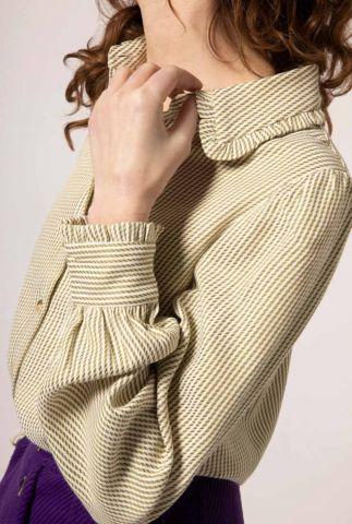 beige gestreepte blouse met ballonmouwen en ruches caen