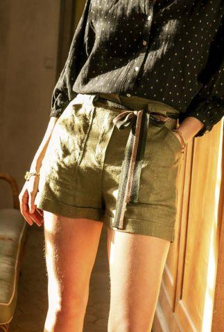 high waist khaki short van linnenmix met lurex details arwen