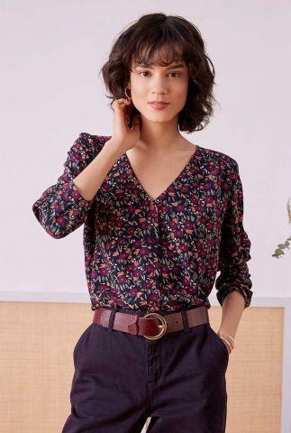 viscose blouse met v-hals en bloemen dessin sia