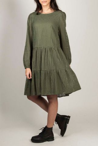 katoenen jurk met lange mouwen en ajour details sibby