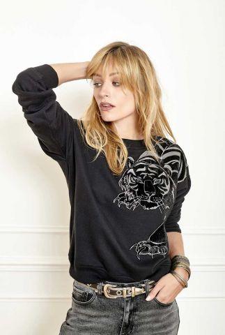 zwarte vintage sweater met geborduurde velours tijger siger