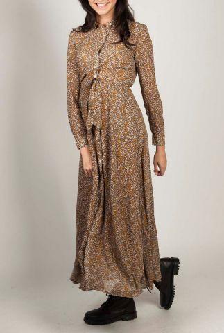 donker gele maxi jurk met all-over bladeren dessin simone
