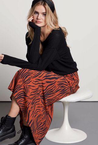 donker oranje maxi rok met tijger print sk animal stripes