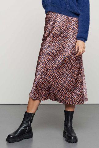 midi zijde look rok met stippen dessin sk blue dots