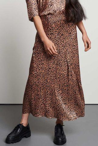 bruine midi zijde look rok met luipaard dessin sk glazed spots