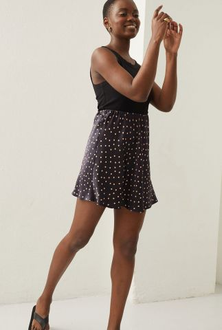 zwarte satijnen mini rok met stippen dessin sk happy dots mini