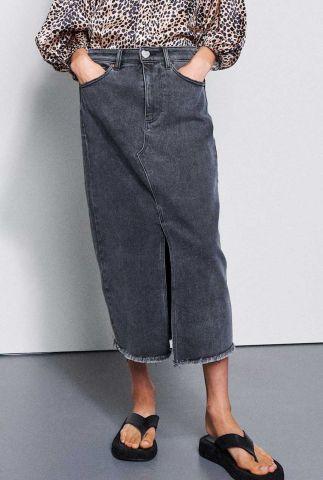 midi grijze denim rok met split sk jean