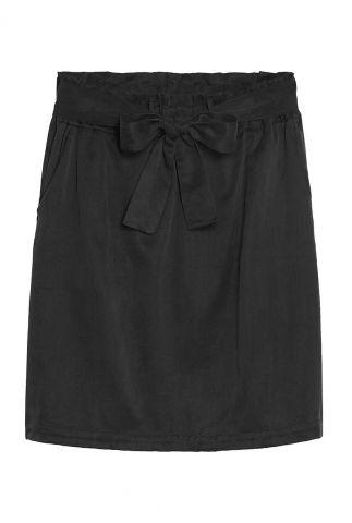 zwarte cupro rok met elastische tailleband sk nova