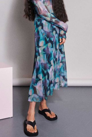 meerkleurige maxi rok met abstract bloemen dessin sk vivian