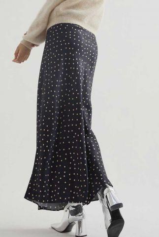 zwarte satijnen maxi rok met stippen print sk happy dots