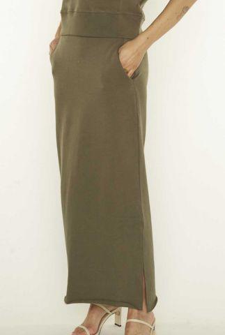 donker groene maxi rok met zijsplit anna 4053201