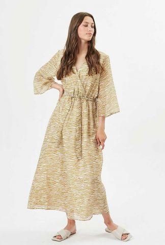 maxi jurk met goudbruine zebra print en overslag skiva 7455