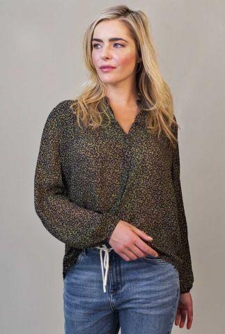 zwarte blouse met all-over dessin skylar blouse w21.60.1970