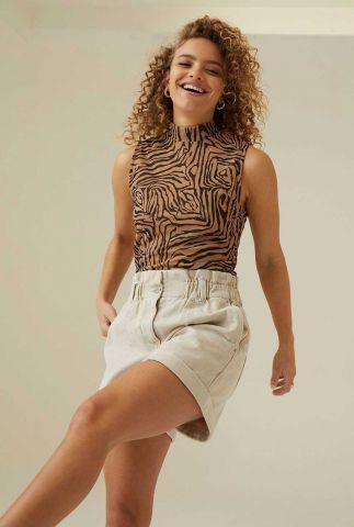 bruine mouwloze top met grafische print sl aaliyah sheer