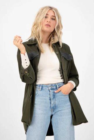 legergroene oversized jas met studs smile jacket