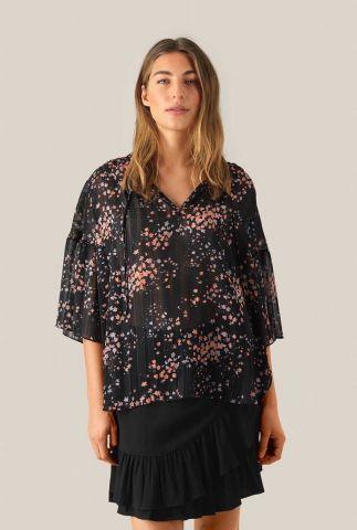 zwarte chiffon top met bloemen print en lurex strepen snora blouse