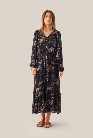 zwarte maxi jurk met bloemen dessin en lurex detail snora dress