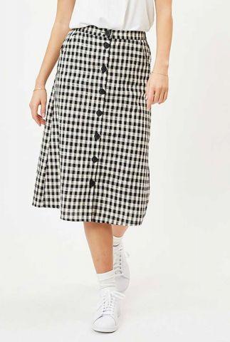 zwart-witte midi rok met ruitpatroon en knoop details sodot 6602