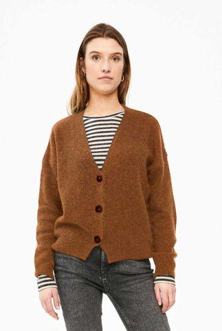 bruin vest van wolmix met v-hals sofie cardigan