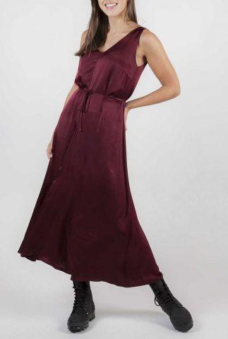 bordeaux rode satijnen jurk shania midi jurk SR420-711