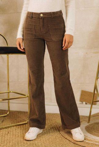 bruine velours broek met rib dessin sonny velours brun