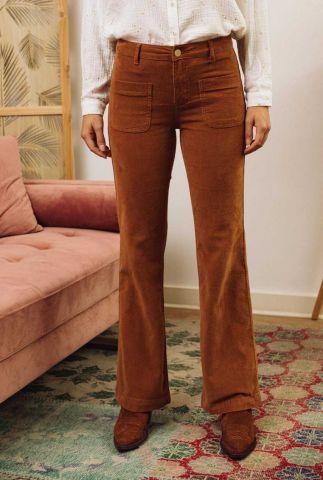 bruine velours broek met rib dessin en flared pasvorm sonny velours