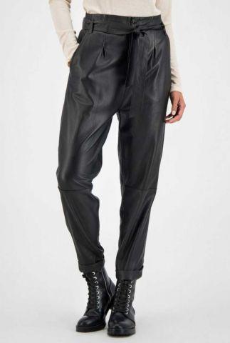 zwarte leren paperbag broek met high waist southside pants
