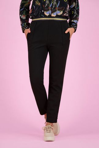 zwarte broek met lurex taille band black night by katja sp6359